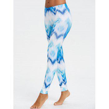 Ombre Print Fitted Chevron Leggings - BLUE S