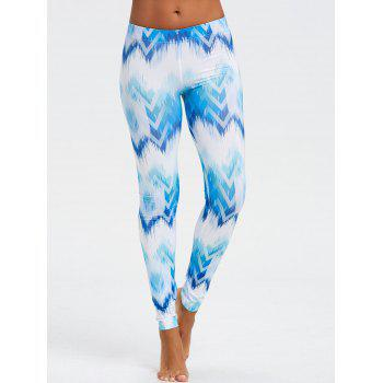 Ombre Print Fitted Chevron Leggings - BLUE BLUE