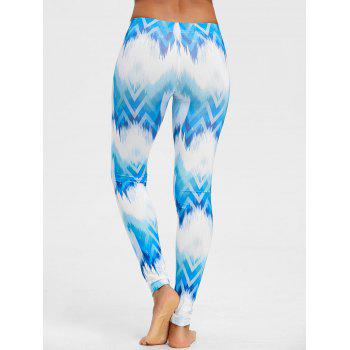 Ombre Print Fitted Chevron Leggings - BLUE M