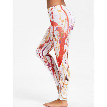 Painting Blood Splatter Leggings - ORANGE M