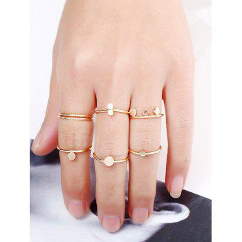 Simple Disc Circle Finger Ring Set - GOLDEN ONE-SIZE