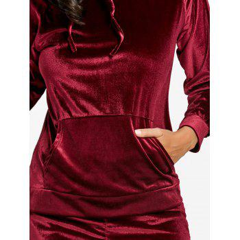 Drawstring Velvet Hoodie and Dolphin Shorts - WINE RED M