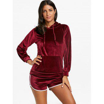 Drawstring Velvet Hoodie and Dolphin Shorts - WINE RED XL