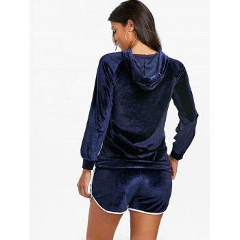 Drawstring Velvet Hoodie and Dolphin Shorts - BLUE L