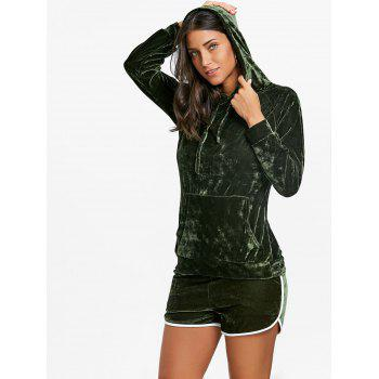 Drawstring Velvet Hoodie and Dolphin Shorts - ARMY GREEN L