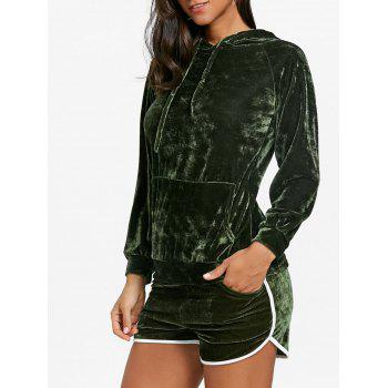 Drawstring Velvet Hoodie and Dolphin Shorts - ARMY GREEN ARMY GREEN