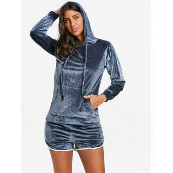 Drawstring Velvet Hoodie and Dolphin Shorts - GRAY L