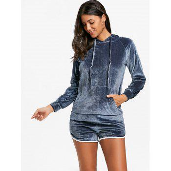 Drawstring Velvet Hoodie and Dolphin Shorts - GRAY M