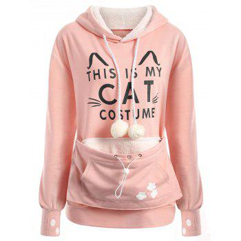 Plus Size Cat Kangaroo Pouch Pocket Hoodie - PINK XL