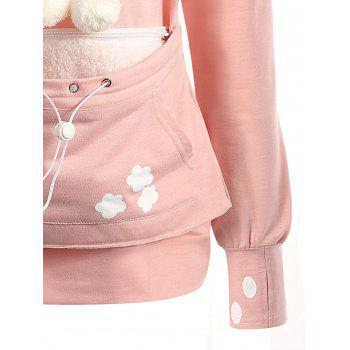 Plus Size Cat Kangaroo Pouch Pocket Hoodie - PINK 3XL