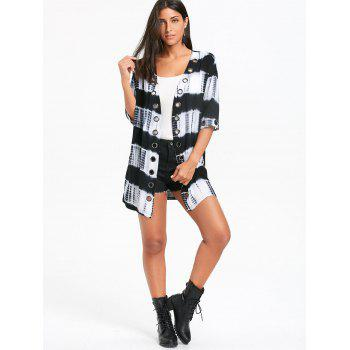 Metal Grommet Insert Tie Dyed Printed Shirt Cardigan - COLORMIX M