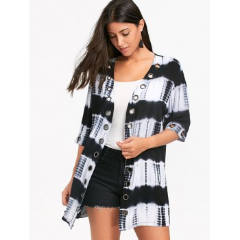 Metal Grommet Insert Tie Dyed Printed Shirt Cardigan - COLORMIX L