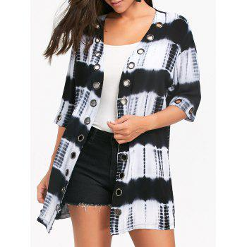 Metal Grommet Insert Tie Dyed Printed Shirt Cardigan - COLORMIX COLORMIX