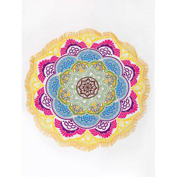 Bandana Floral Fringed Round Beach Throw - COLORMIX COLORMIX