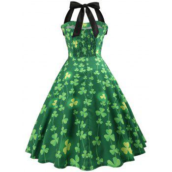 Vintage Pin Up Halter Smocked Party Dress - GREEN 2XL