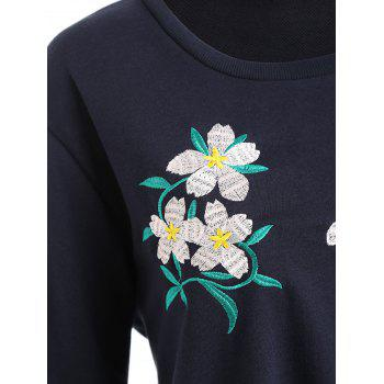 Plus Size Floral Embellished Sweatshirt - PURPLISH BLUE PURPLISH BLUE