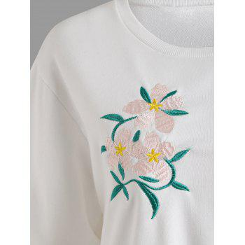 Plus Size Floral Embellished Sweatshirt - WHITE 3XL