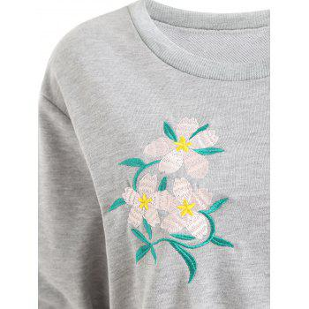 Plus Size Floral Embellished Sweatshirt - GRAY GRAY