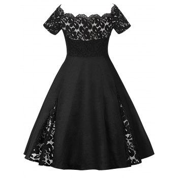 Plus Size Off Shoulder Lace Panel Dress - BLACK 3XL