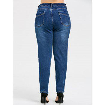 Slim Plus Size Fleece Lined Jeans with Pocket - BLUE 4XL