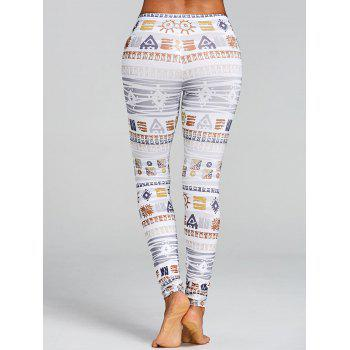 Skinny Geometric Print Leggings - COLORMIX M