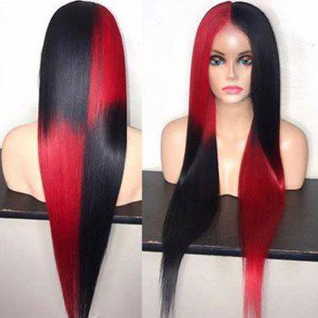 Long Two Tone Center Parting Straight Synthetic Party Wig - GRADIENT COLOR GRADIENT COLOR