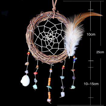 Feather Vine Circle Shell Hanging Handmade Dreamcatcher Decoration - COLORMIX
