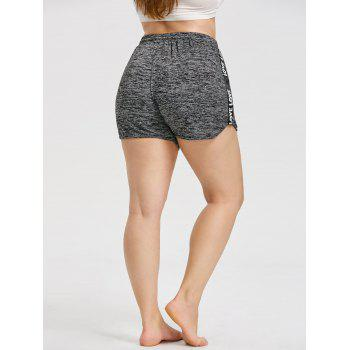 Letters Strappy Insert Plus Size Workout Shorts - DARK HEATHER GRAY XL