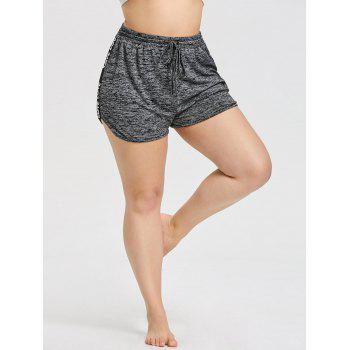 Letters Strappy Insert Plus Size Workout Shorts - DARK HEATHER GRAY 3XL