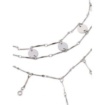 Faux Crystal Paillette Layered Necklaces - SILVER