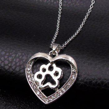 Rhinestone Heart Claw Footprint Collarbone Necklace - SILVER
