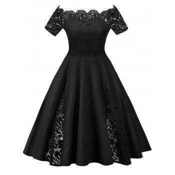 Plus Size Off Shoulder Lace Panel Dress