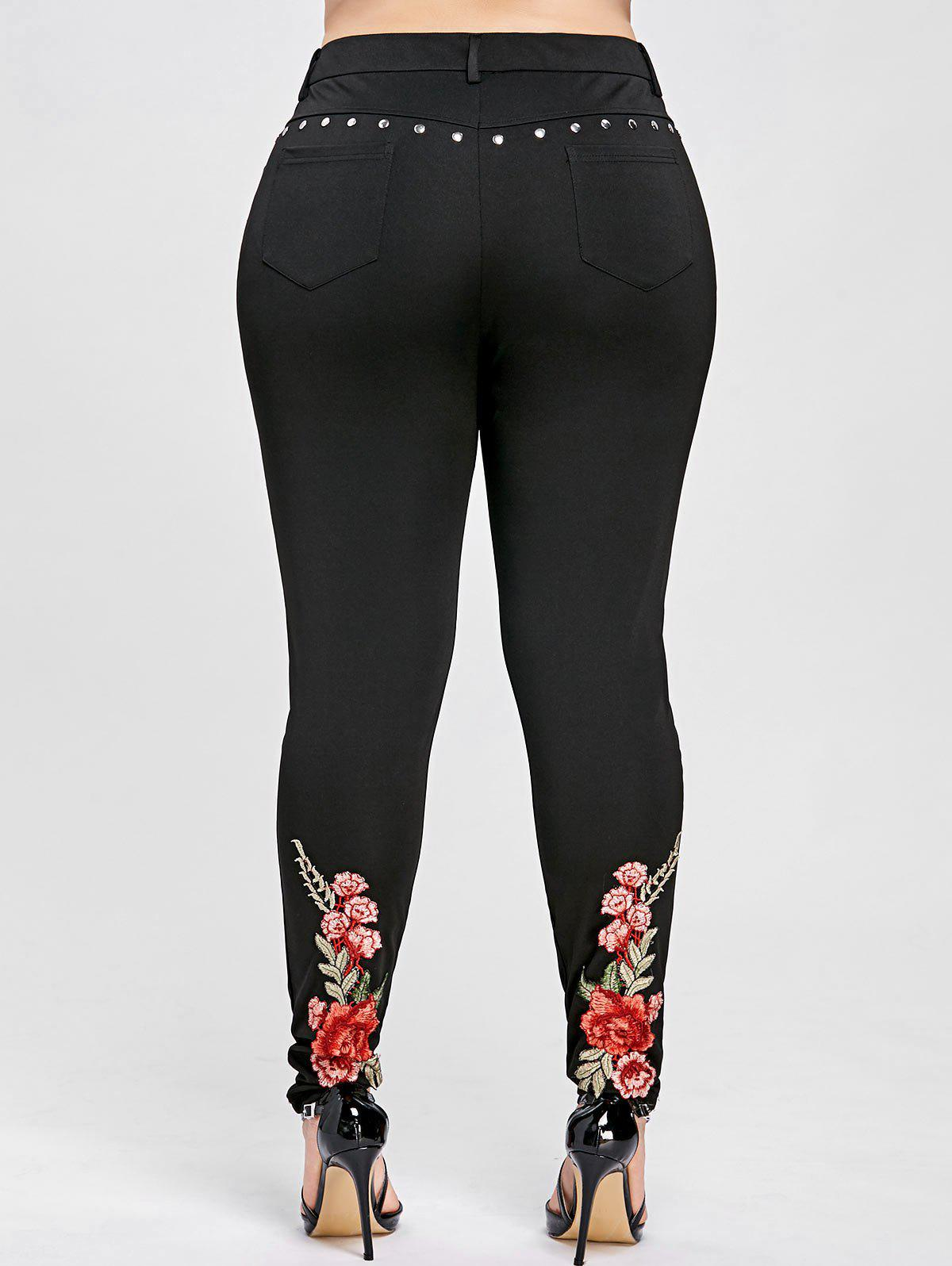 Floral Embroidered Rivet Plus Size Pencil Pants - BLACK XL