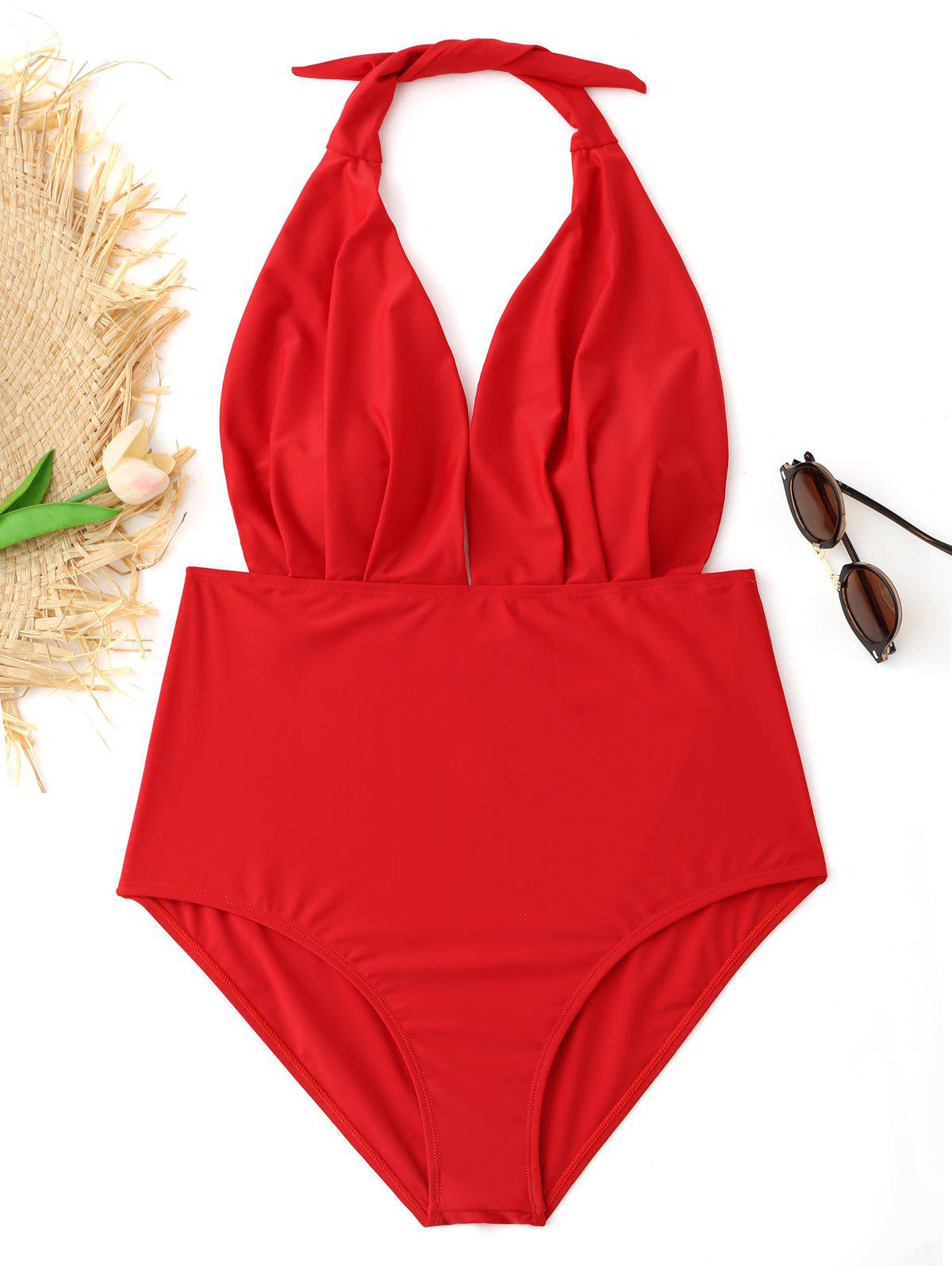 Halter Pleated Plus Size Swimsuit - RED 3XL