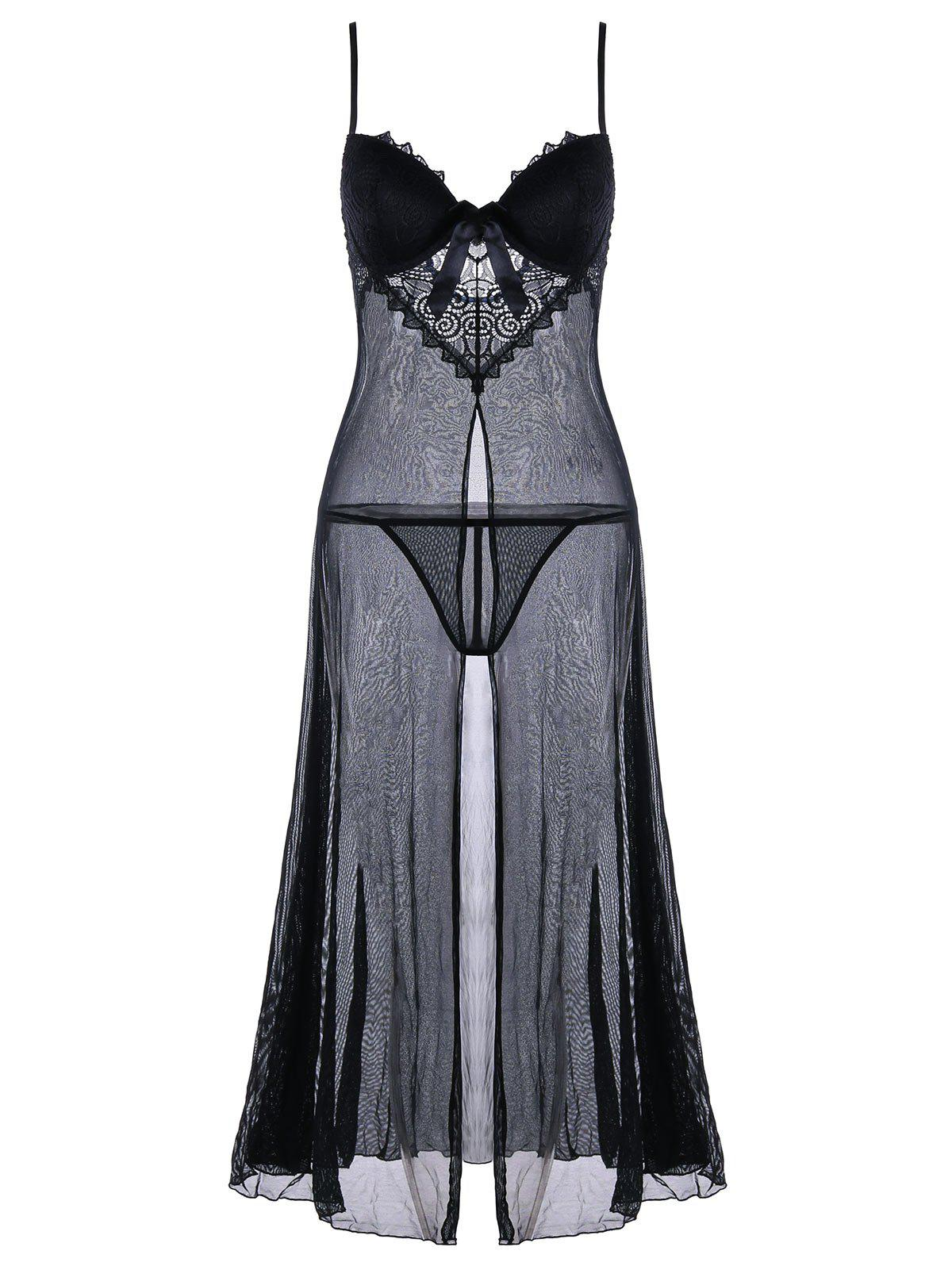 Sheer Front Slit Longline Babydoll Dress - BLACK ONE SIZE