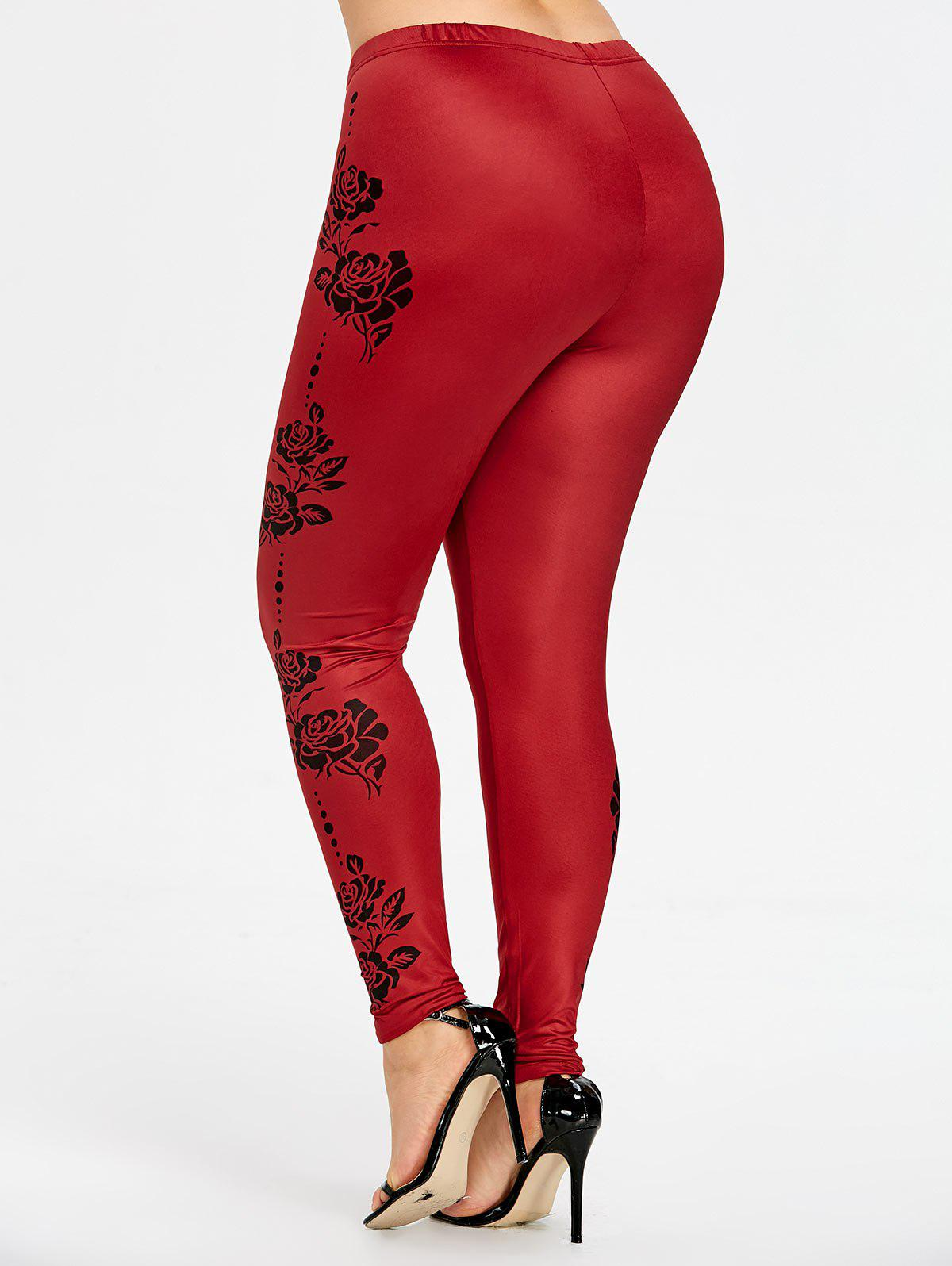 Plus Size Floral Tight Leggings - WINE RED 2XL