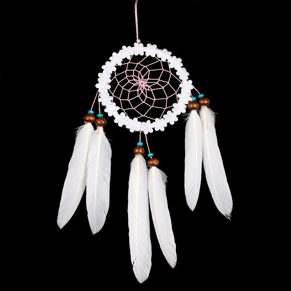 Hanging Flower Feather Handmade Indian Dreamcatcher Decoration - WHITE