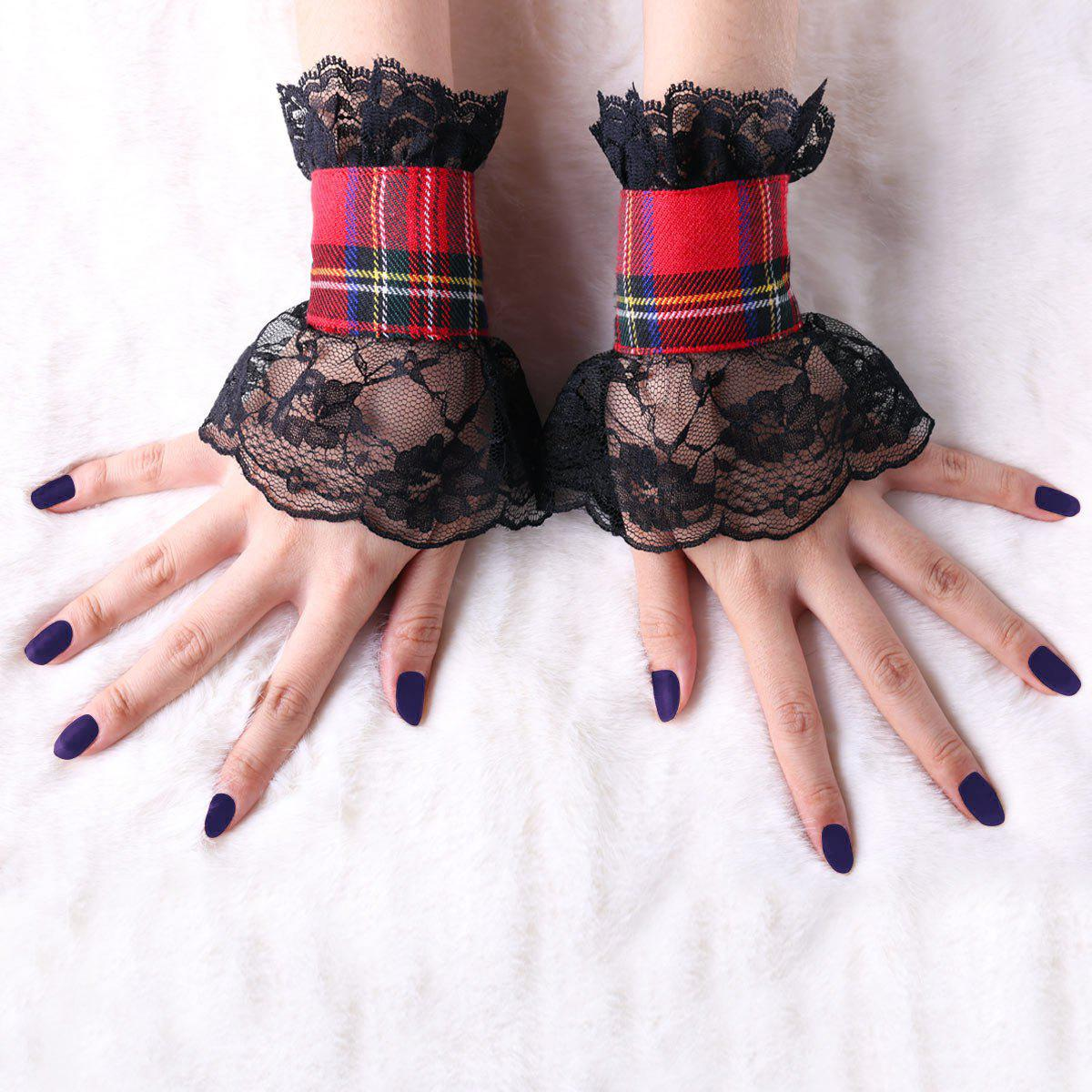 Lace Panel Plaid Fingerless Gloves - BLACK L