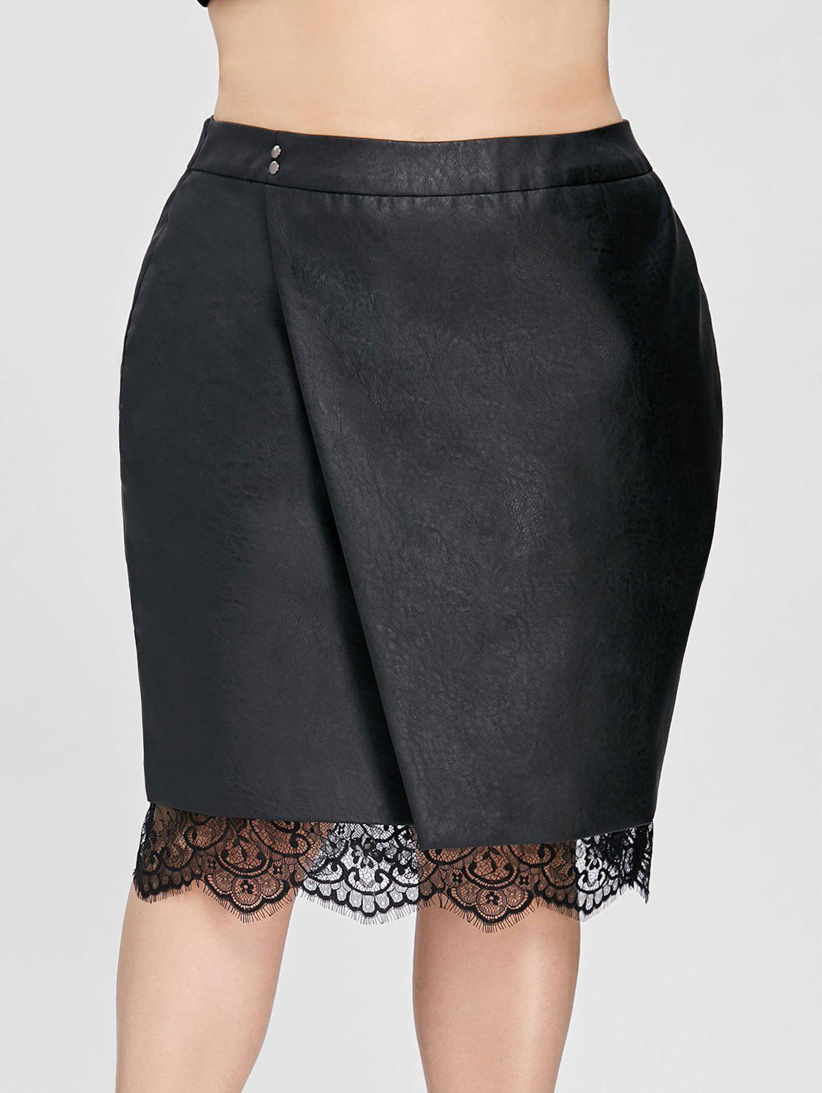 Plus Size Faux Leather Oblique Lace Trim Skirt - BLACK 2XL