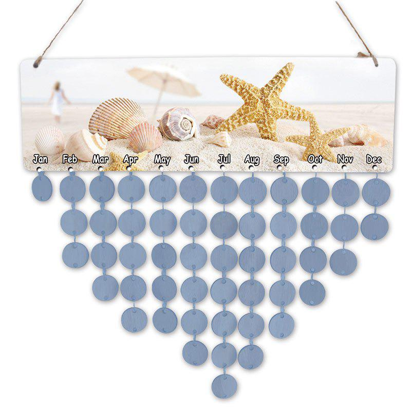DIY Birthday Gift Beach Style Starfish and Shells Printed Wooden Calendar Board starfish beach style pillow case