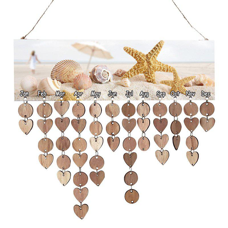 Starfish and Shells Printed Birthday Reminder Board Wooden DIY Calendar diy birthday gift beach style starfish and shells printed wooden calendar board