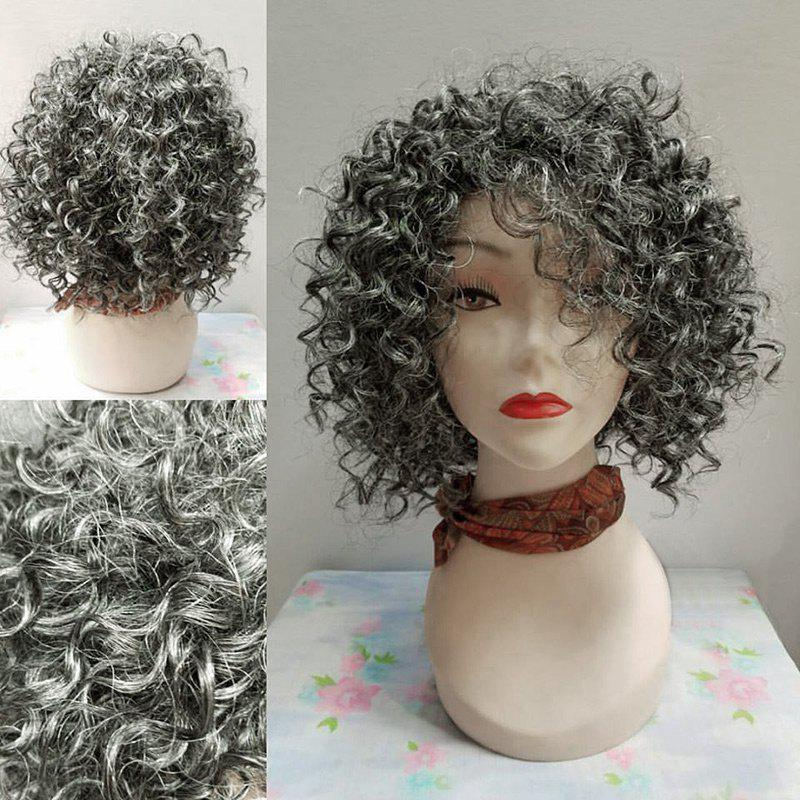 Short Inclined Bang Fluffy Afro Big Curly Synthetic Wig short pixie cut capless straight inclined bang synthetic wig