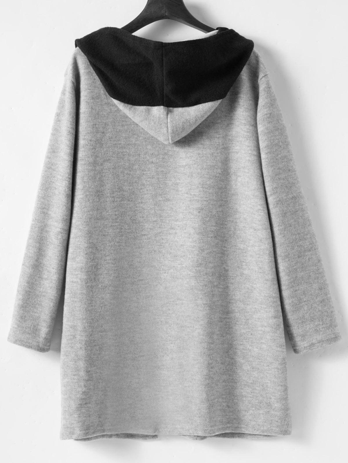 Faux Twinset Plus Size Long Hooded Coat - GRAY 4XL