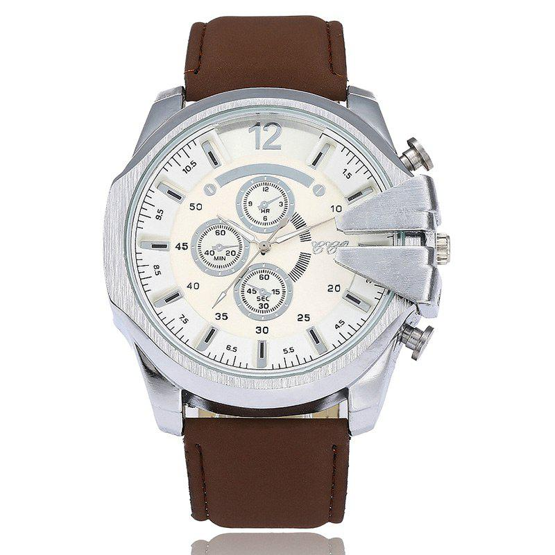 Big Dial Faux Leather Watch - ESPRESSO