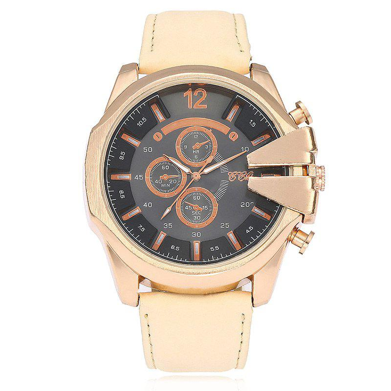Faux Leather Strap Big Dial Watch - OFF WHITE