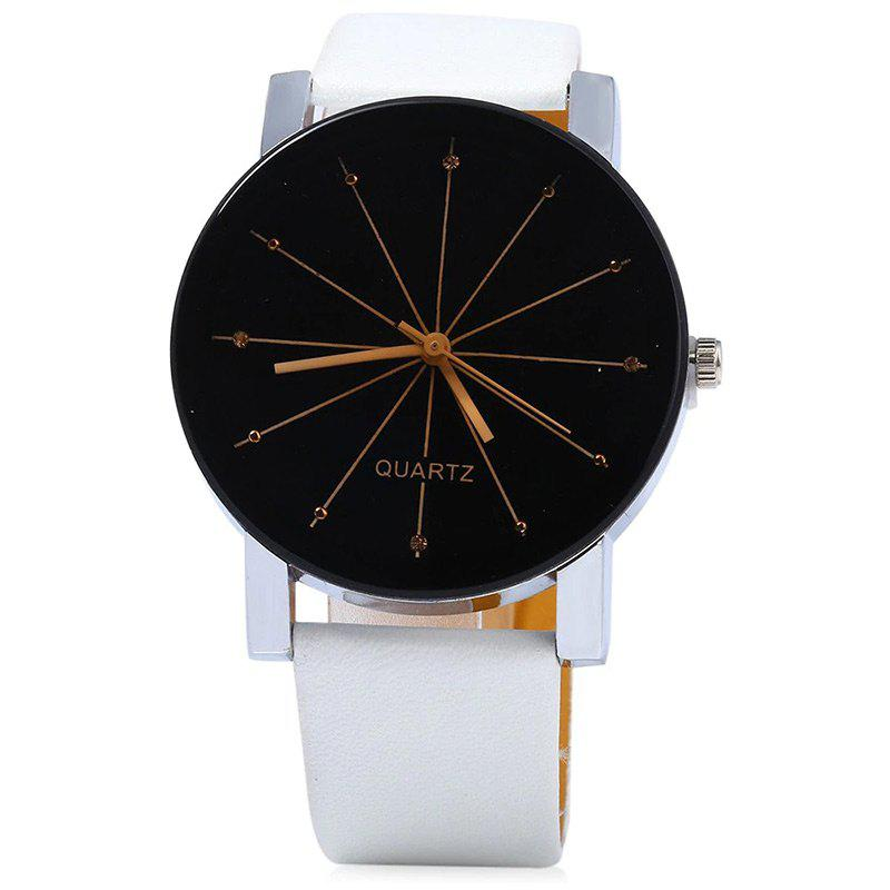 Faux Leather Strap Ray Face Watch - WHITE