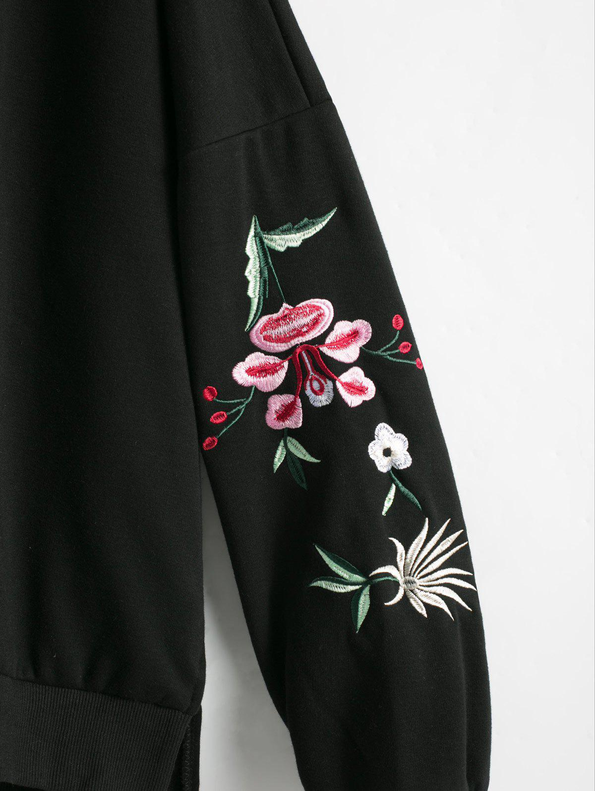 Floral Embroidered Plus Size Fleece Lined  Sweatshirt - BLACK 2XL