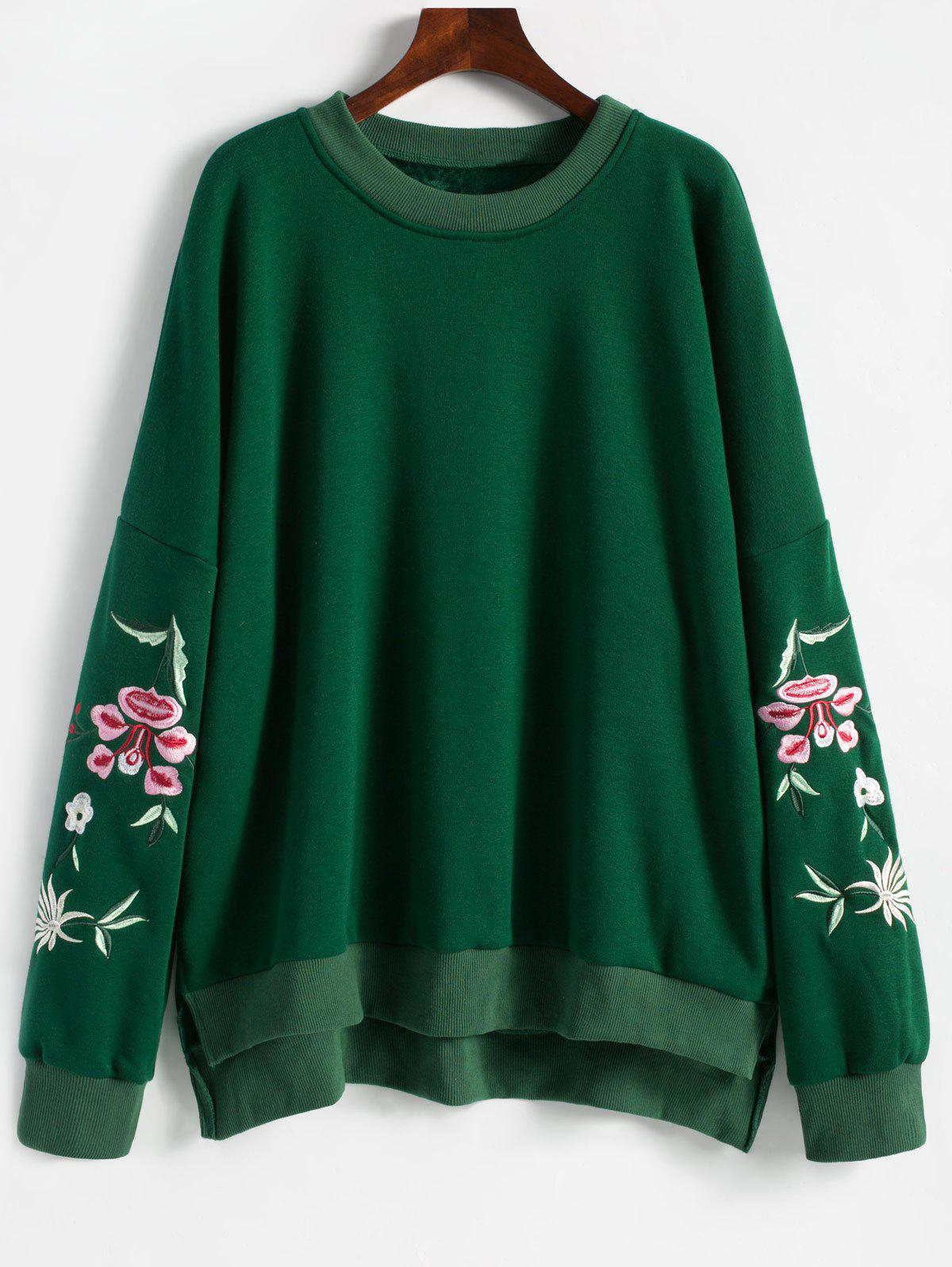 Floral Embroidered Plus Size Fleece Lined  Sweatshirt - GREEN 2XL