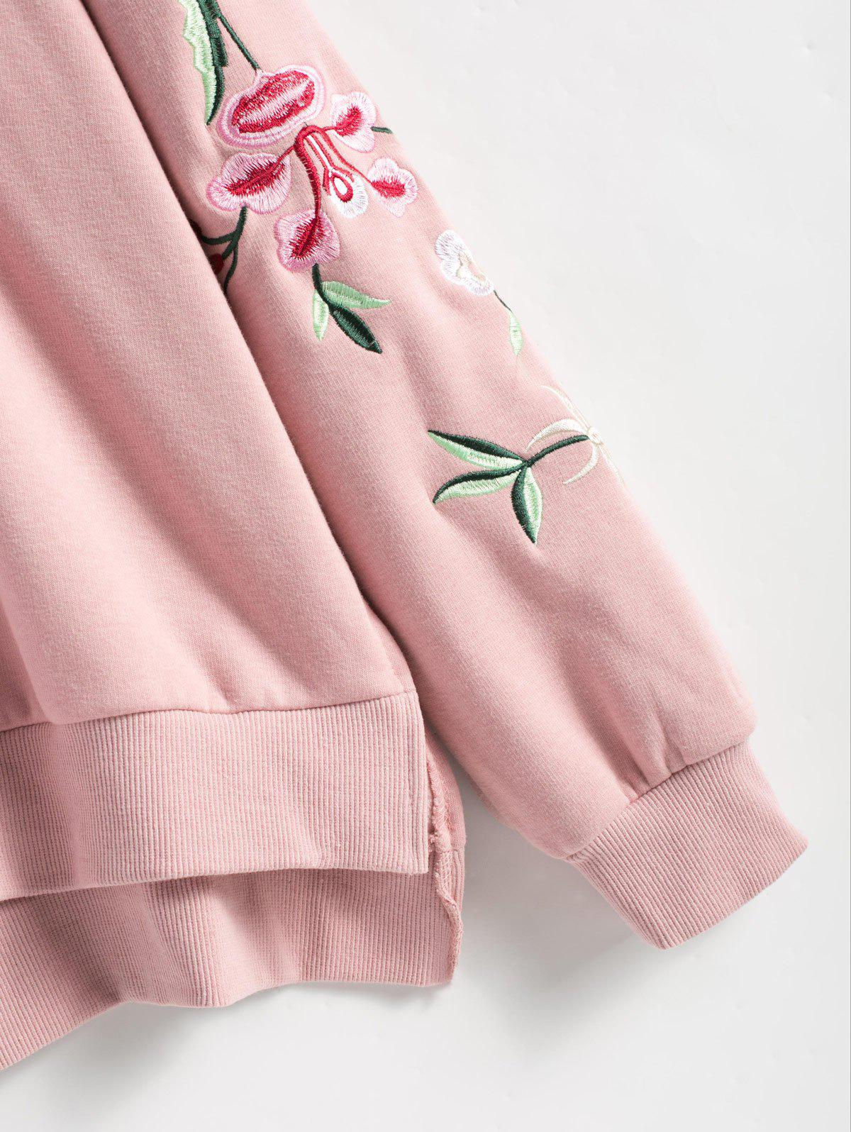 Floral Embroidered Plus Size Fleece Lined  Sweatshirt - PINK XL