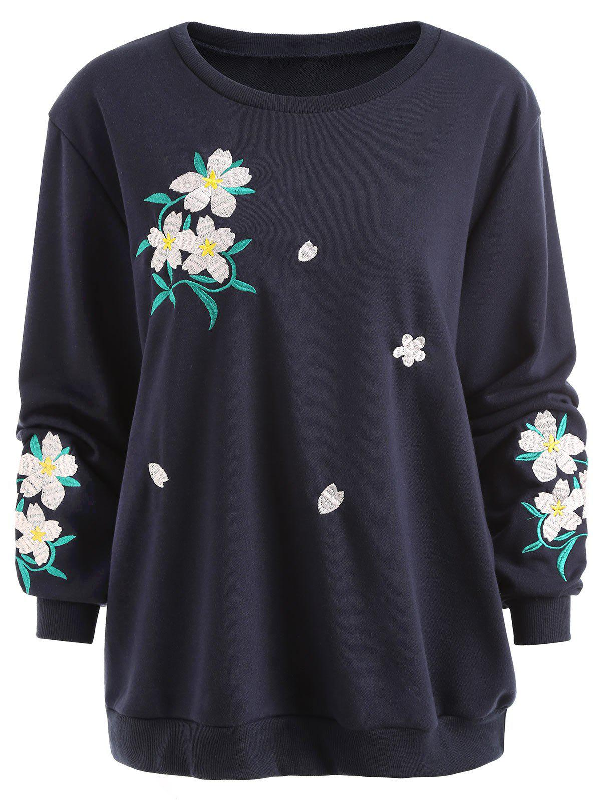 Plus Size Floral Embellished Sweatshirt - PURPLISH BLUE 5XL